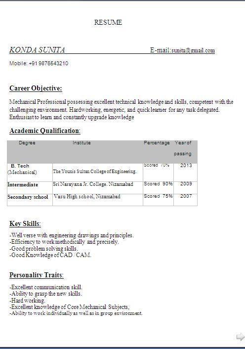 Simple Mechanical Engineering Fresher Resume Format In Word