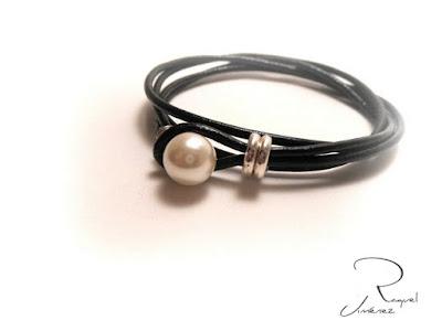 pulsera cuero con perla