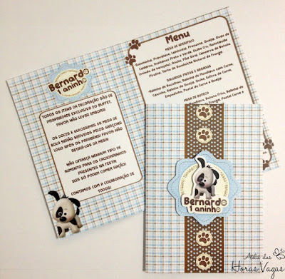 cardápio de mesa personalizado festa de aniversário infantil convite artesanal cachorro cachorrinho 1 ano aninho azul bebê marrom menino scrap scrapbook papelaria personalizada para festas