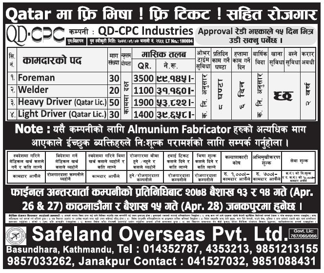 Free VISA Free Ticket Jobs in Qatar for Nepali, salary Rs 99,145