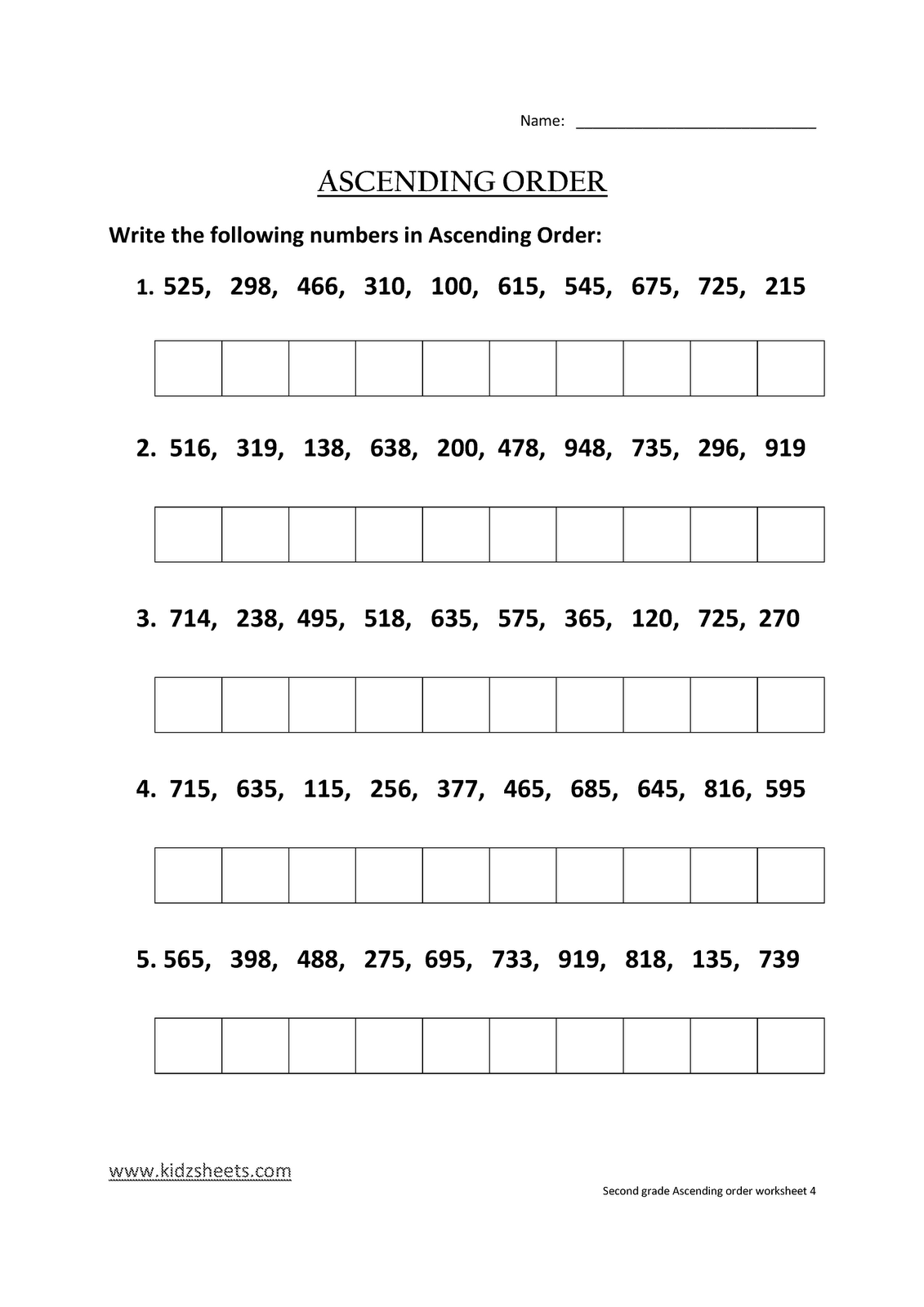 Kidz Worksheets Second Grade Ascending Order Worksheet4