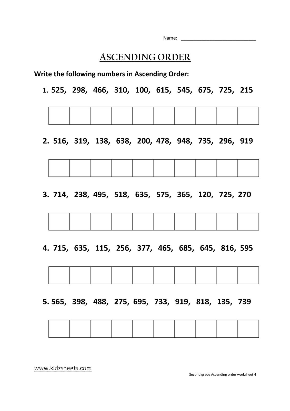 Kidz Worksheets Second Grade Ascending Order Worksheet4