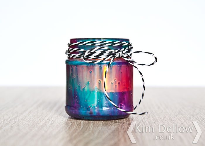 Decorated tea light holder project from a jam jar. By Kim Dellow