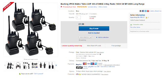 http://www.ebay.co.uk/itm/Baofeng-4PCS-Walkie-Talkie-UHF-400-470MHZ-2-Way-Radio-16CH-5W-BF-888S-Long-Range/132121923681?_trksid=p2141725.c100338.m3726&_trkparms=aid%3D222007%26algo%3DSIC.MBE%26ao%3D1%26asc%3D20150313114020%26meid%3D38c967ad568545deab73661a4b153f52%26pid%3D100338%26rk%3D2%26rkt%3D18%26mehot%3Dpp%26sd%3D332156764896
