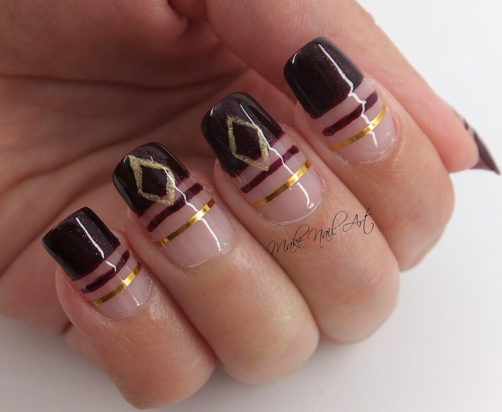 Autumn Dark Red And Gold Cut Out Nail Art Design Tutorial Make
