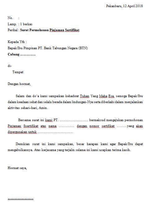 Contoh Surat Permohonan Penurunan Suku Bunga Pinjaman Bank Contoh Seputar Surat Cute766