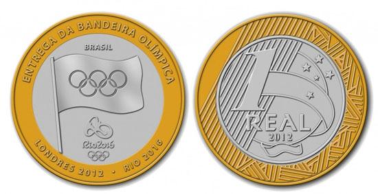 Moedas mais raras e caras do Real - 4 Lugar - Moeda de 1 R$ da bandeira olímpica de 2012