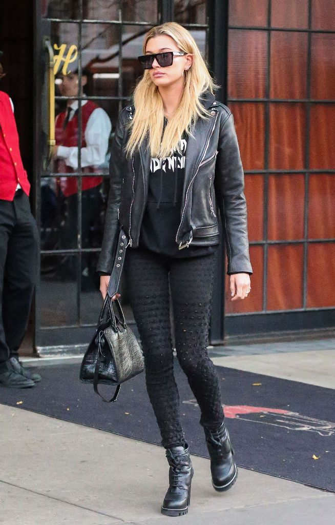 Hailey Baldwin in rocker chic street style in New York