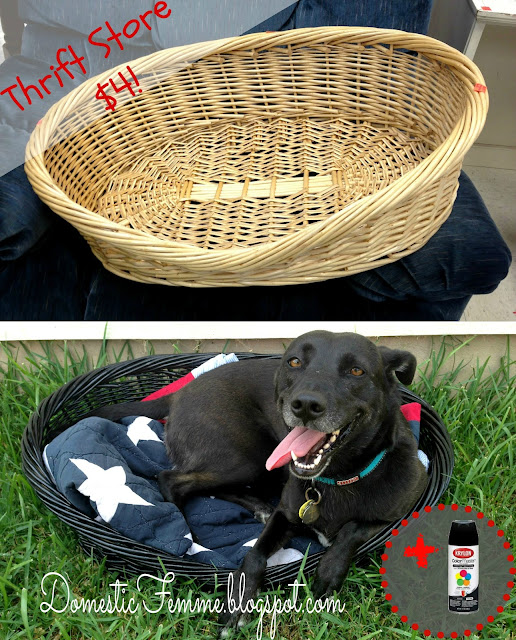 Thrift Store Finds: Dog Bed Krylon Upcycle {by Domestic Femme} #Goodwill #Good #Will #Spray #Paint #Paints #Cheap #Thrifty #Beds #Idea #Ideas #DIY #Cat #Black #Wicker #Dark #Dogs #Find