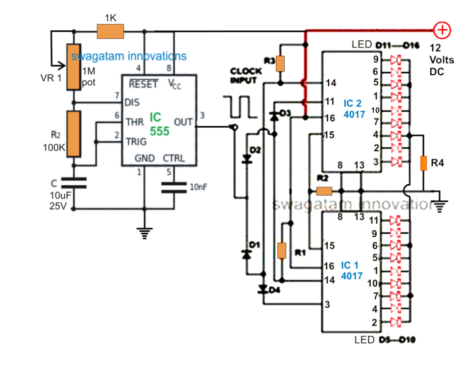 18 LED Light Chaser Circuit Using Two IC 4017