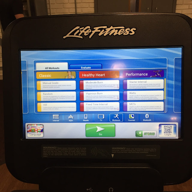 Life Fitness Equipment Workout Options On Screen