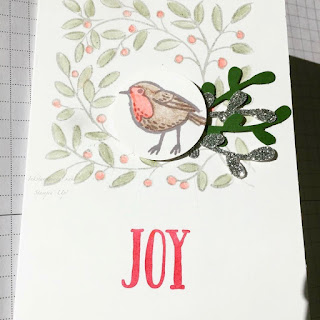 Christmas Card using Feather And Frost Stamps. Hand made card, Robin Card, Stampin Up