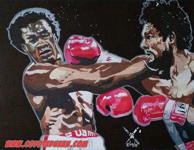 "Roberto Duran vs Sugar Ray Leonard I: ""The Brawl in Montreal."" Watercolor paint and ink on 10"" X 13"" cold press paper. Art commission by Coyote Duran"