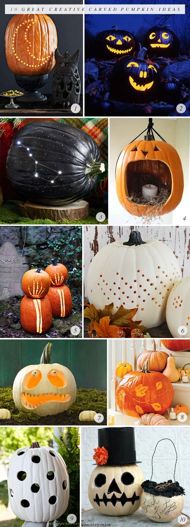 10 Great Creative Carved Pumpkin Ideas (via Bubby and Bean)