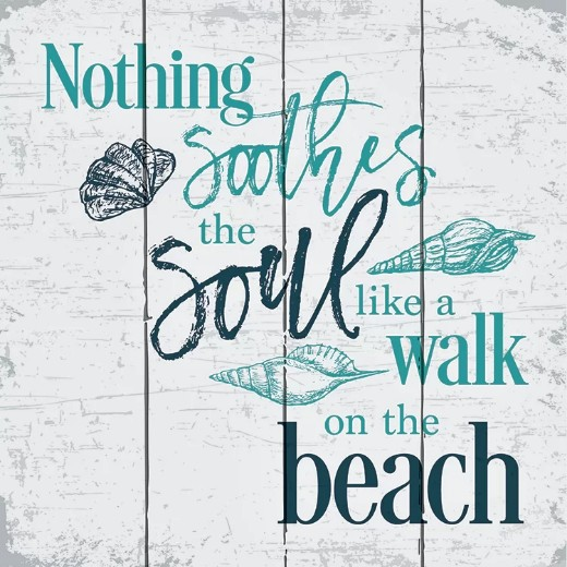 Beach Quote Wood Sign: Nothing Soothes the Soul Like a Walk on the Beach