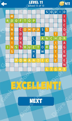 Cheats, Solutions for Level 11 in 13 Word Connect by Second Gear Games