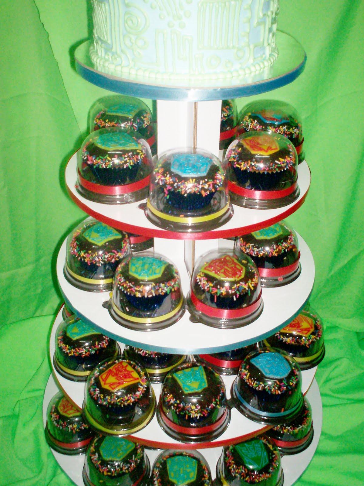 Paupicakes Transformers Cupcake Tower