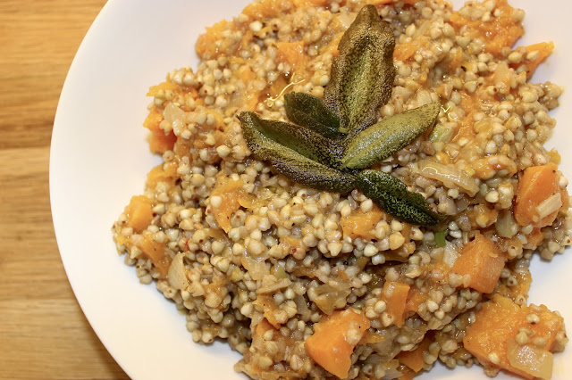 Butternut Squash Buckwheat Risotto with Crispy Sage