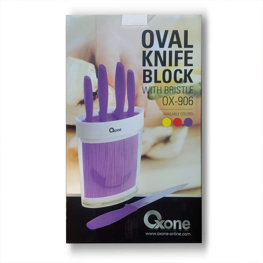 OX-906 Oxone Oval Knife Block with Bristle - Ungu