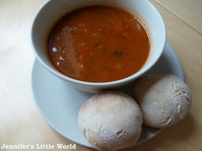 Soup and white rolls