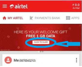 My Airte App : Get free 1Gb data for all airtel user by register on My airtel ap