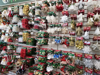 Christmas ornaments at the Dollar Tree store