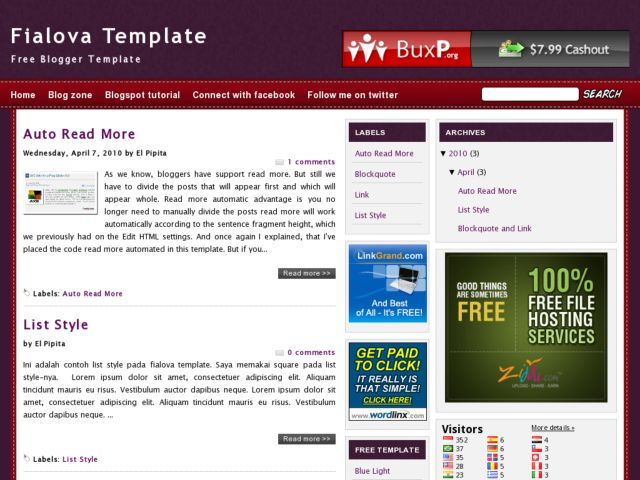Fialova Blogger Template