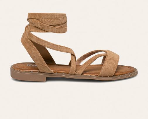 Sandale maro de femei piele intoarsa eco cu talpa joasa