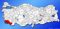 Muğla ilinin Türkiye haritasında gösterimi
