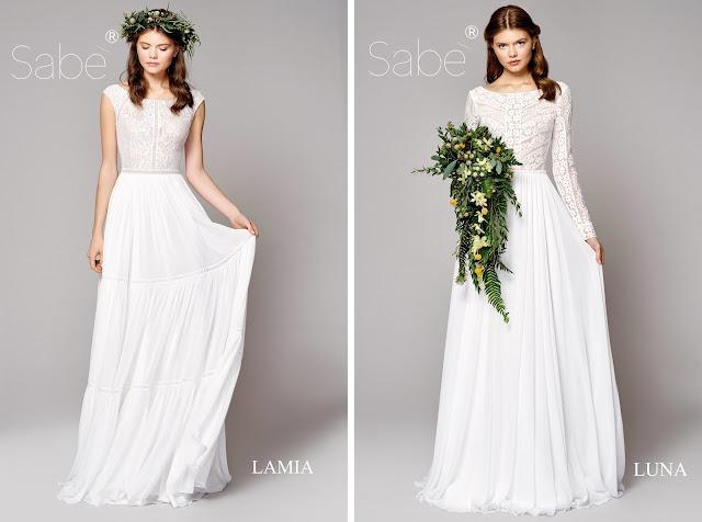 Atelier SABE suknie ślubne. Kolekcja 2019 Ethereal. Suknia ślubna, biała, długa, boho koronki długi i krótki rękaw.