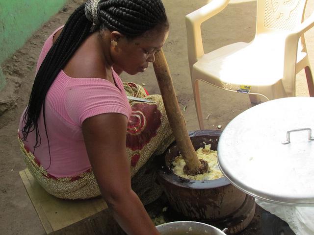 Pounding fufu in Ghana