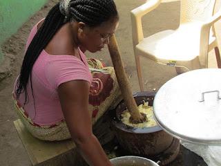 Pounding fufu in Ghana.