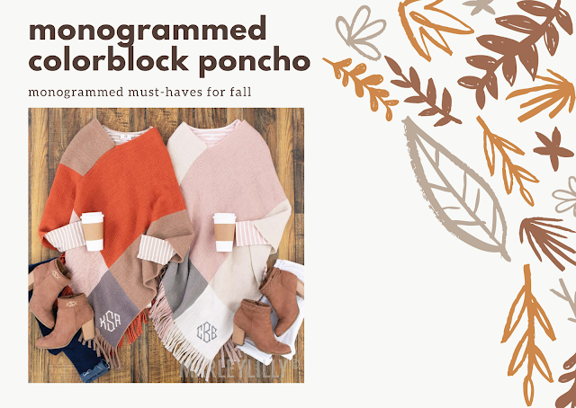 monogrammed colorblock poncho