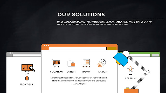 Desktop Web UI Solution Presentation PowerPoint Template with Dark Background