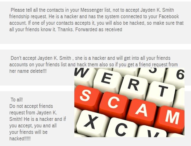 Fake Facebook message warns against accepting Jayden K Smith