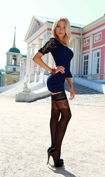 Navy Blue Dress with Leggings