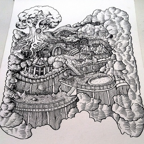 06-Terrace-Home-Muthahari-Insani-Beautifully-Detailed-Ink-Drawings-and-Doodles-www-designstack-co