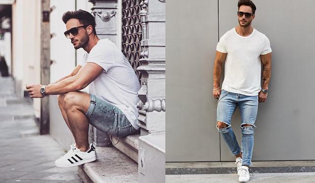 Look masculino com Camisa Lisa branca e jeans claro (1)
