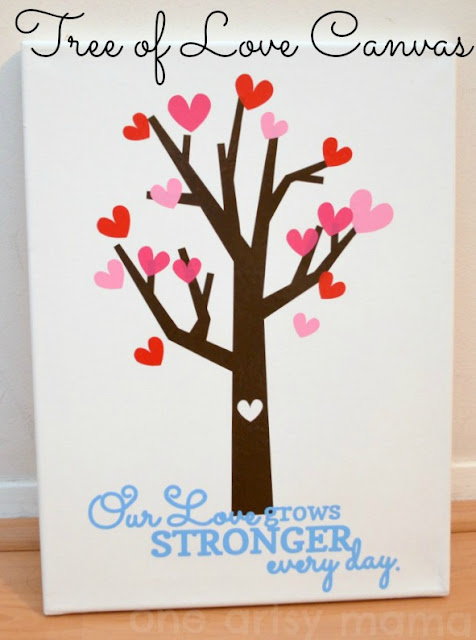 Valentine canvas, tree of love, vinyl canvas