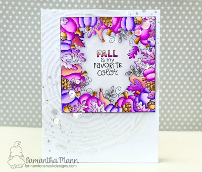 Fall is My Favorite Color Card by Samantha Mann for Newton's Nook Designs, watercolor, fall card, cards, autumn, stencil, tree rings, coloring #newtonsnook #watercolor #zigmarkers #autumn #stencil