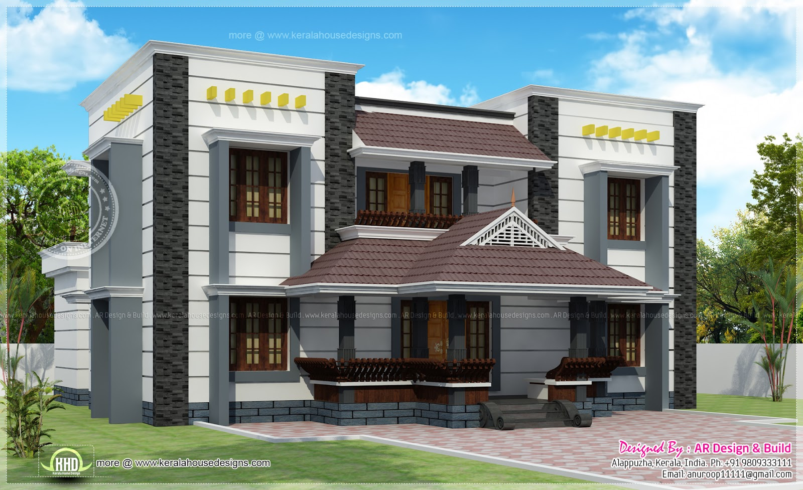 Kerala traditional mix residence elevation kerala home for Different elevations of house