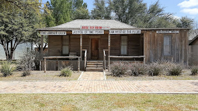 A photo of the Judge Roy Bean Courthouse replica.