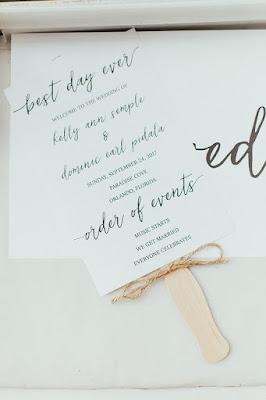 wedding program and fan