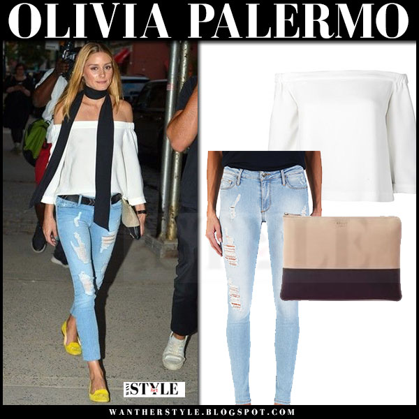 Olivia Palermo in white off shoulder tibi arden top, distressed jeans black orchid jude and yellow suede loafers what she wore