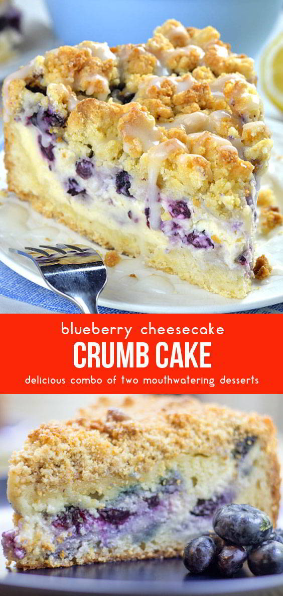 Blueberry Cheesecake Crumb Cake #dessertrecipes #dessertideas #cakerecipes #cakes #desserts #blueberry