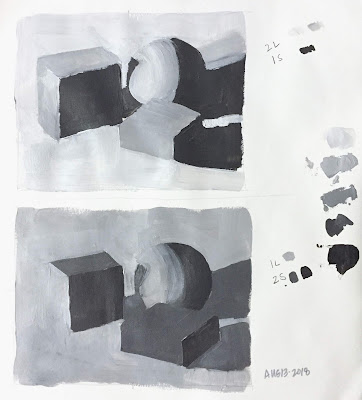 Daily Art 08-13-2018 3-value 2 light-1 shadow and 1 light-2 shadow still life painting exercise