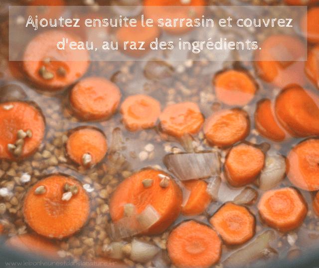 recette vegan sarrasin carottes sucré salé