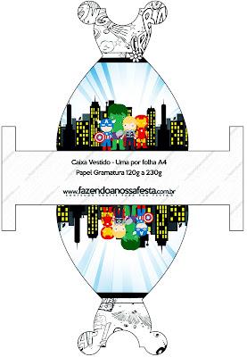 Avengers Chibi Style, Free Printable Dress Box.
