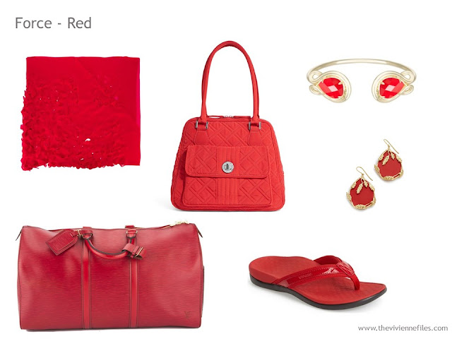 Adding Accessories to a Capsule Wardrobe in 13 color families - red