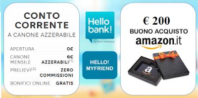 Codice promozionale apertura conto hello bank amazon